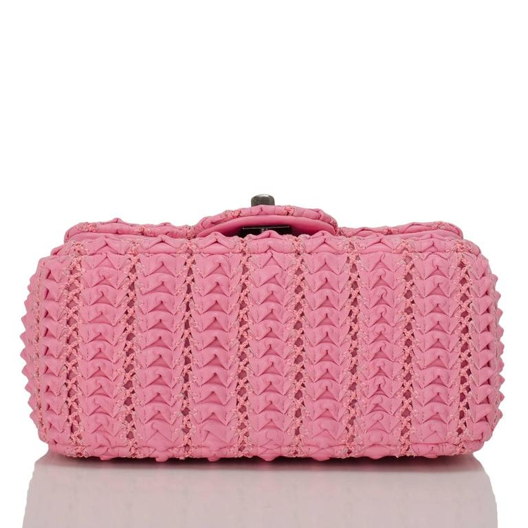 Women's Chanel Pink Embroidered Lambskin Square Mini Flap Bag NEW For Sale