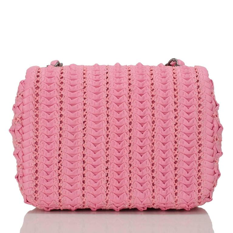 Chanel Pink Embroidered Lambskin Square Mini Flap Bag NEW In New Never_worn Condition For Sale In New York, NY