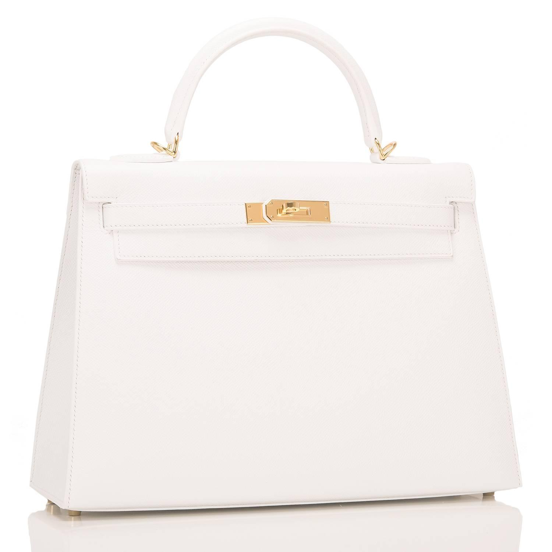 Hermes White Epsom Kelly Sellier 32cm Gold Hardware For Sale at ...