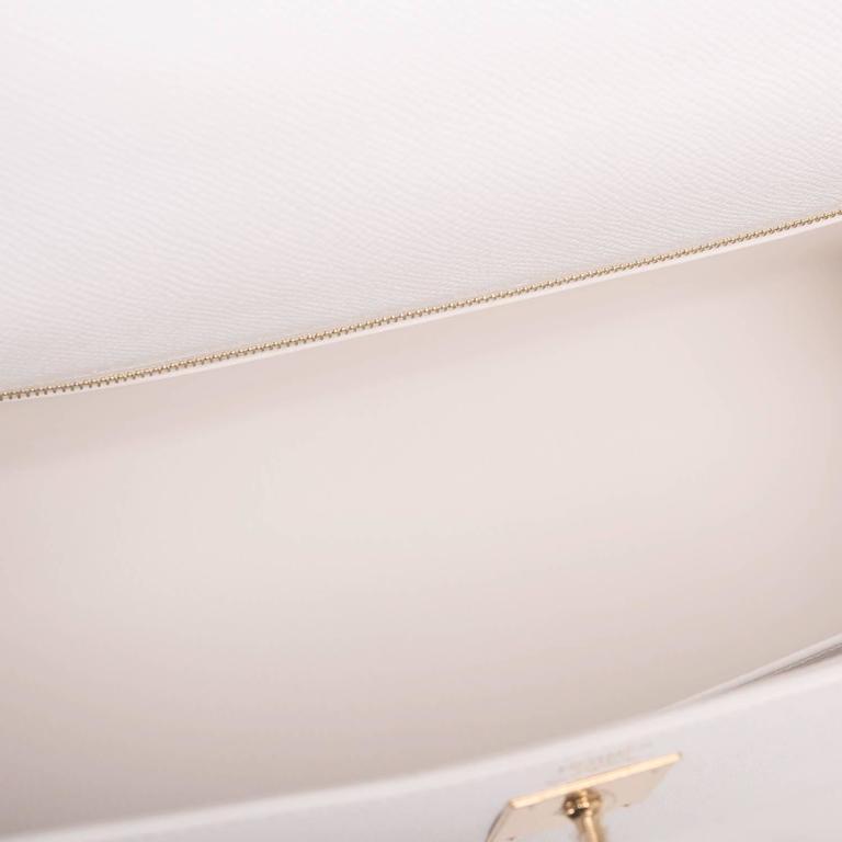 Hermes White Epsom Kelly Sellier 32cm Gold Hardware For Sale 1