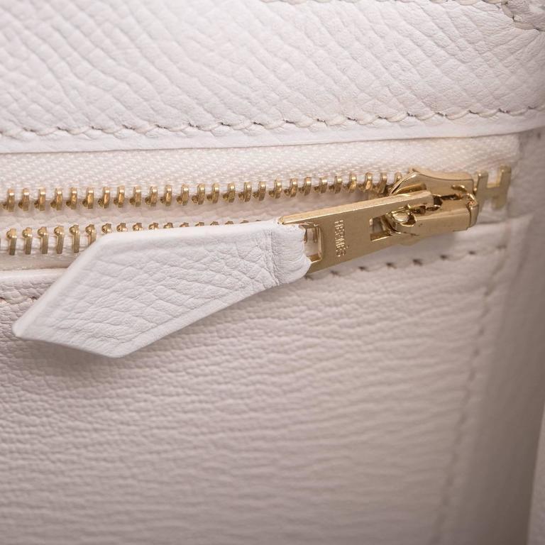 Hermes White Epsom Kelly Sellier 32cm Gold Hardware For Sale 2
