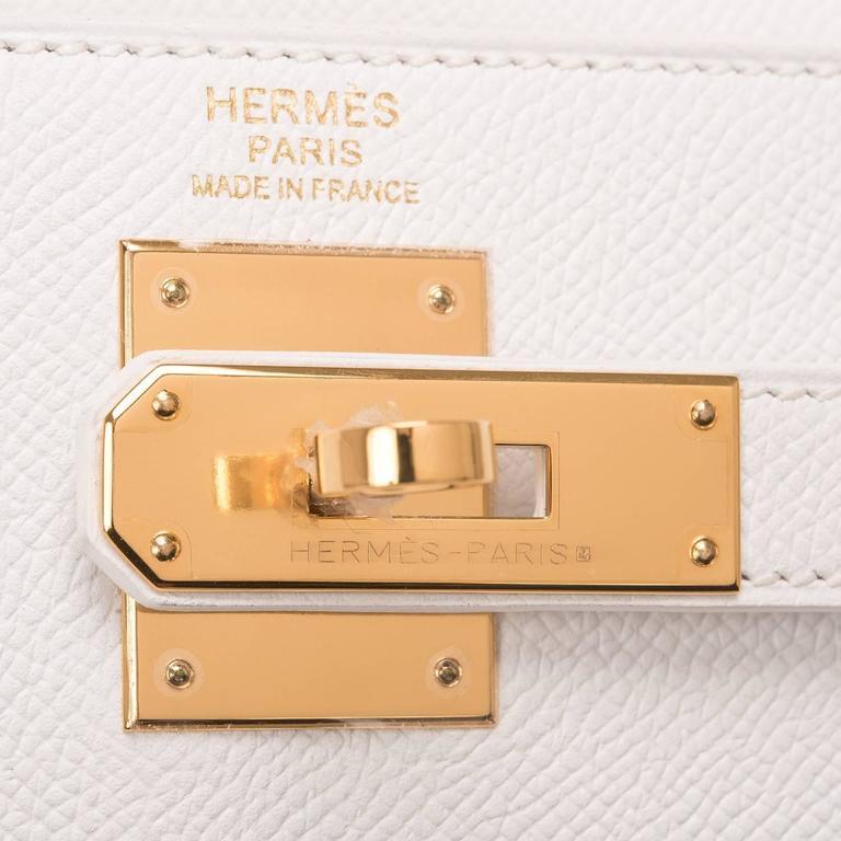 Women's Hermes White Epsom Kelly Sellier 32cm Gold Hardware For Sale