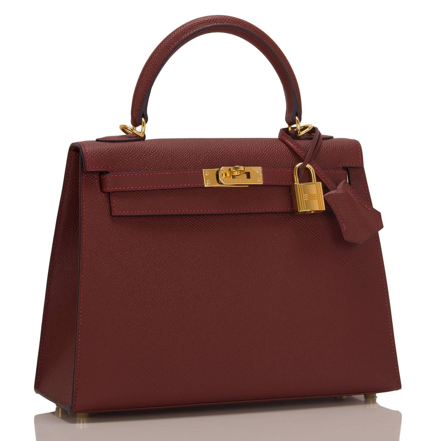 hermes travel birkin - Hermes Rouge H Contour Epsom Sellier Kelly 25cm Gold Hardware For ...