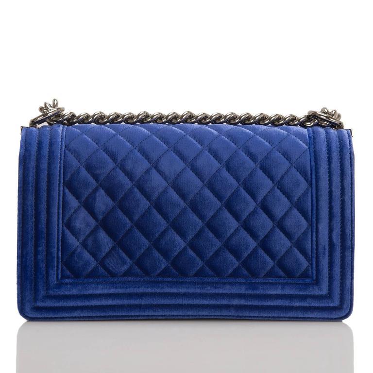 Purple Chanel Blue Quilted Velvet Medium Boy Shoulder Bag For Sale