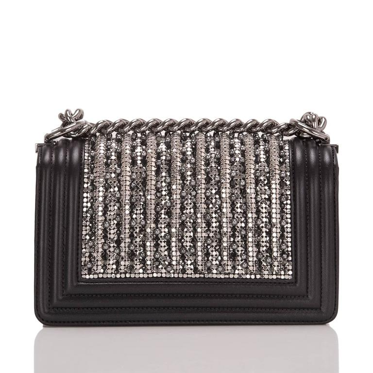 Chanel Black Lambskin Small Boy Flap Bag with Metallic Glass & Pearl Embroiderie In New never worn Condition For Sale In New York, NY