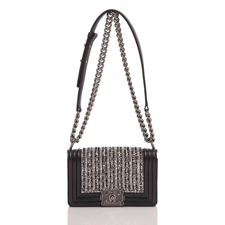 Chanel Black Lambskin Small Boy Flap Bag with Metallic Glass & Pearl Embroiderie For Sale 1