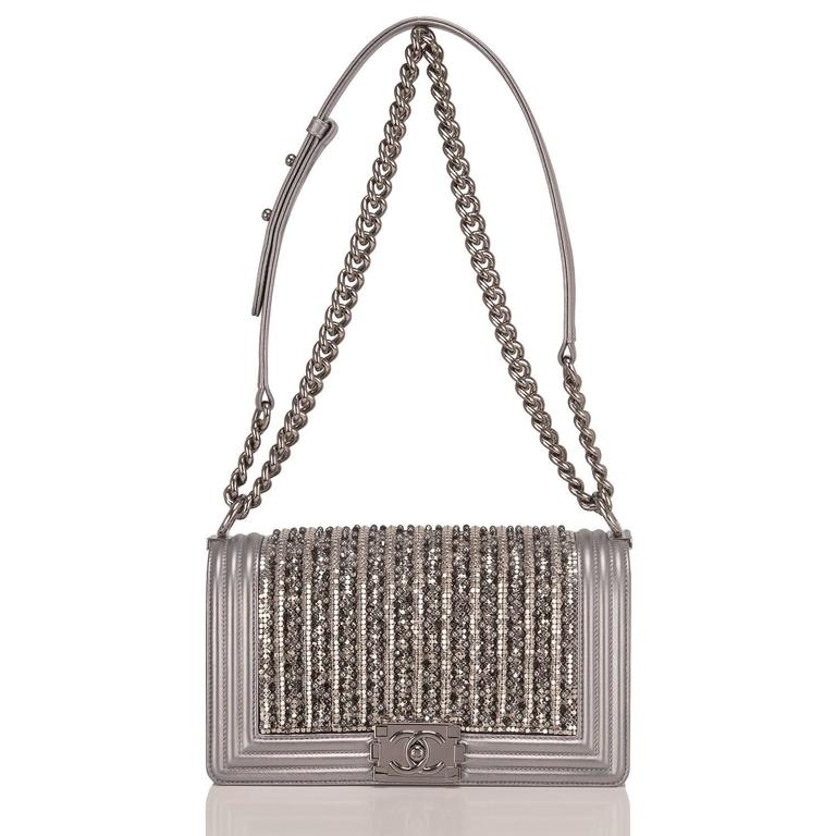 Chanel Silver Lambskin Medium Boy Flap Bag with Metallic Glass and Pearl  For Sale 1