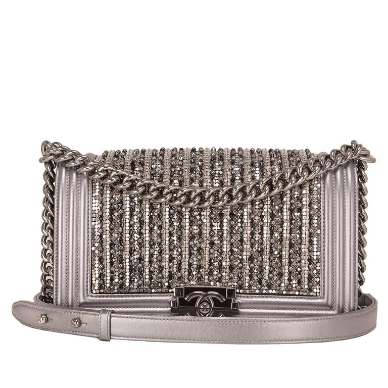 Chanel Silver Lambskin Medium Boy Flap Bag with Metallic Glass and Pearl  For Sale