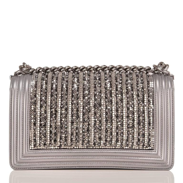 Chanel Silver Lambskin Medium Boy Flap Bag with Metallic Glass and Pearl  In New never worn Condition For Sale In New York, NY