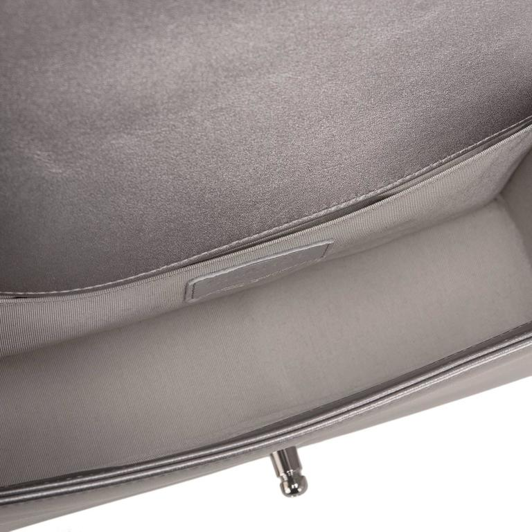 Chanel Silver Lambskin Medium Boy Flap Bag with Metallic Glass and Pearl  For Sale 2