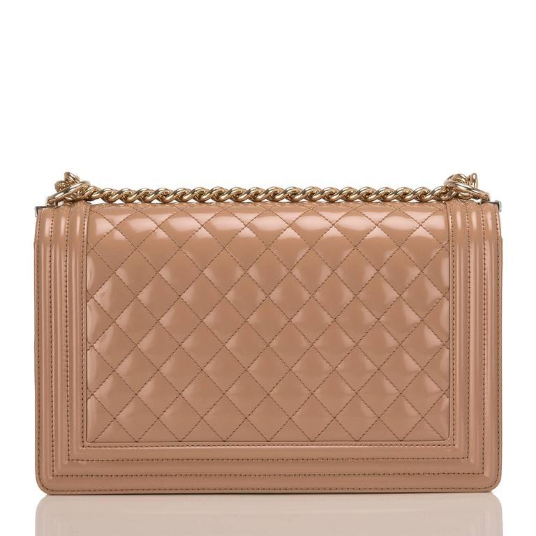 Brown Chanel Dark Beige Iridescent Calfskin New Medium Boy Bag For Sale