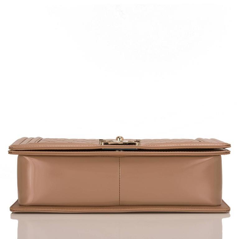 Chanel Dark Beige Iridescent Calfskin New Medium Boy Bag In New never worn Condition For Sale In New York, NY