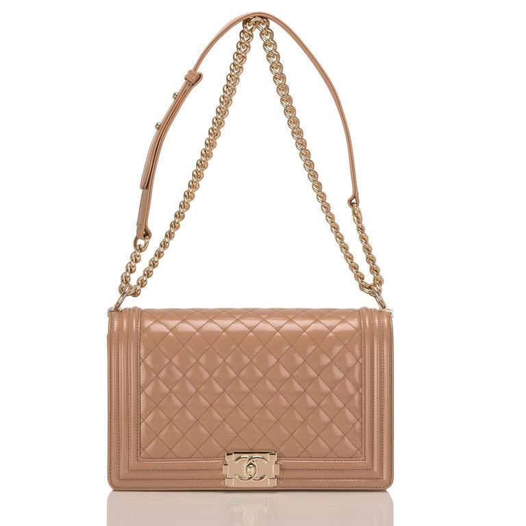 Women's Chanel Dark Beige Iridescent Calfskin New Medium Boy Bag For Sale