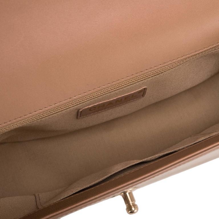 Chanel Dark Beige Iridescent Calfskin New Medium Boy Bag For Sale 1