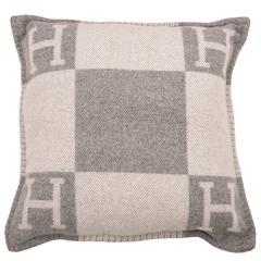 "Hermes ""Avalon"" Ecru and Light Grey Signature H Cushion PM"