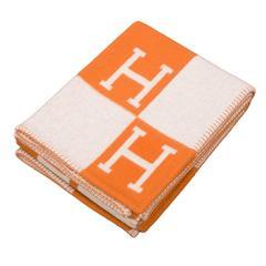 "Hermes ""Avalon"" Ecru and Pumpkin Signature H Blanket"