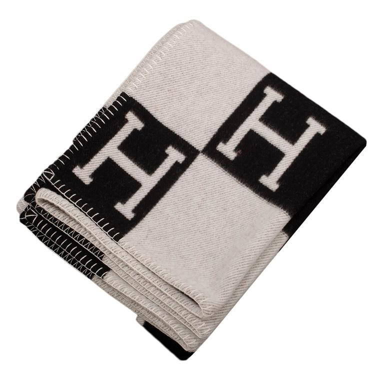 "Hermes ""Avalon"" Ecru and Black Signature H Blanket For Sale"