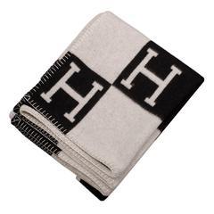 "Hermes ""Avalon"" Ecru and Black Signature H Blanket"