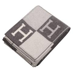 "Hermes ""Avalon"" Ecru and Dark Grey Signature H Blanket"