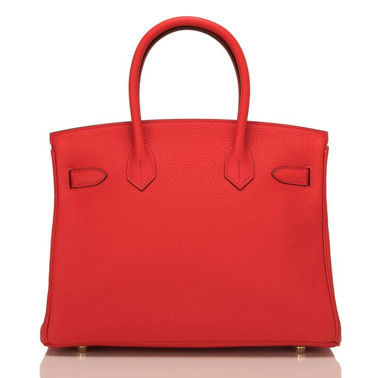 Red Hermes Rouge Tomate Clemence Birkin 30cm Gold Hardware For Sale