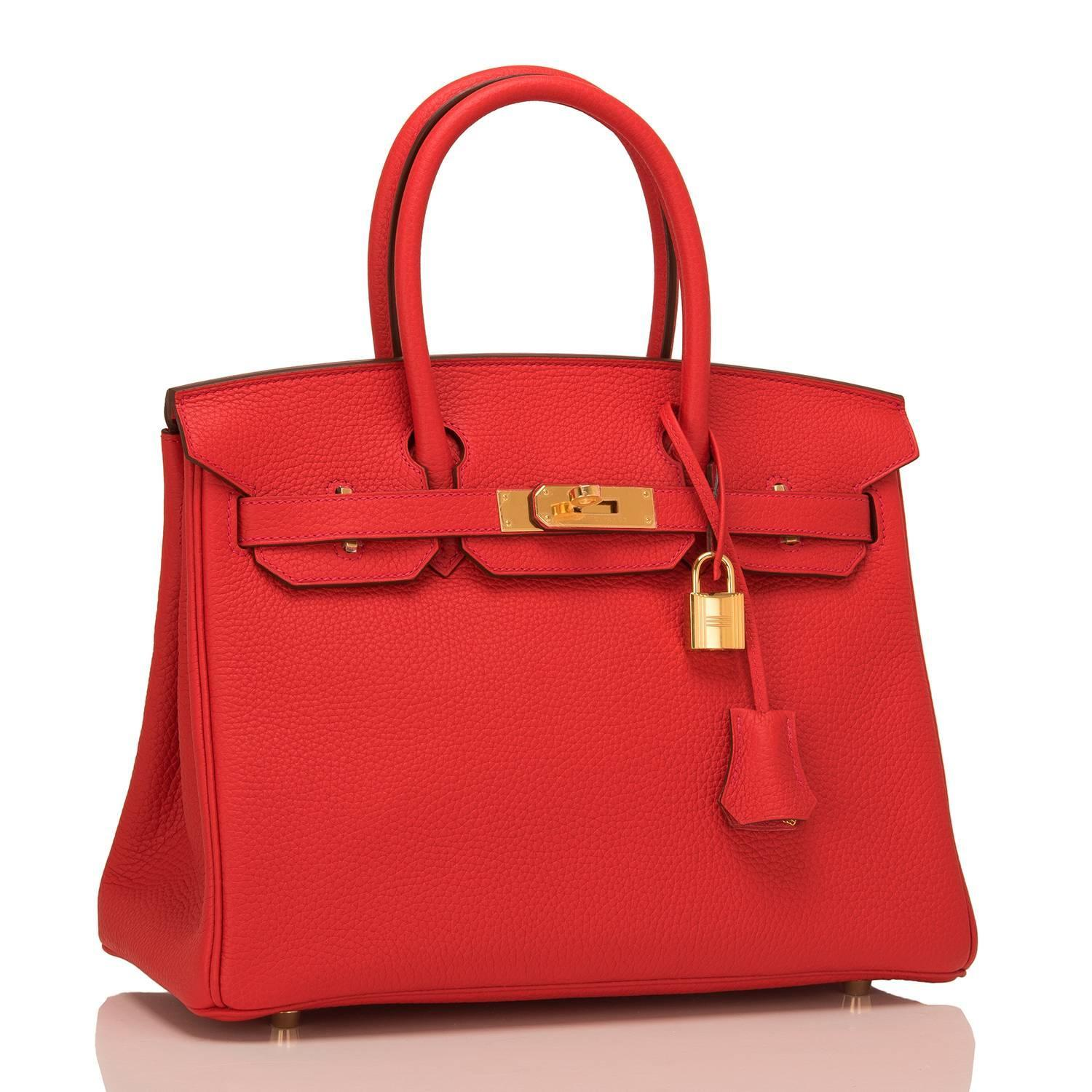 Hermes Rouge Tomate Clemence Birkin 30cm Gold Hardware For