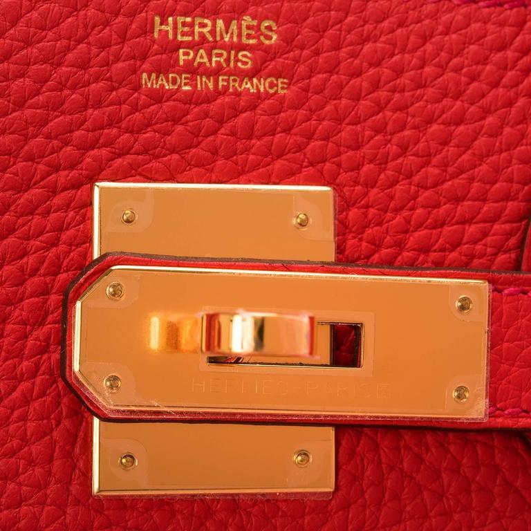 Women's Hermes Rouge Tomate Clemence Birkin 30cm Gold Hardware For Sale