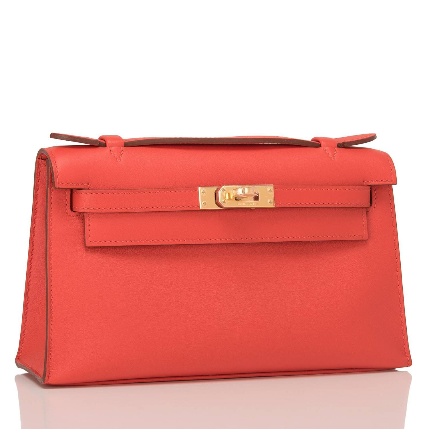 great hermes handbags - Hermes Capucine Swift Mini Kelly Pochette For Sale at 1stdibs