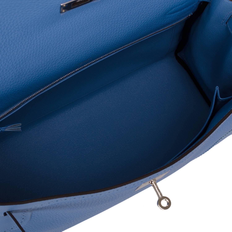 hermes bags replica - Hermes Blue Paradise Clemence Ghillies Kelly 32cm Palladium ...