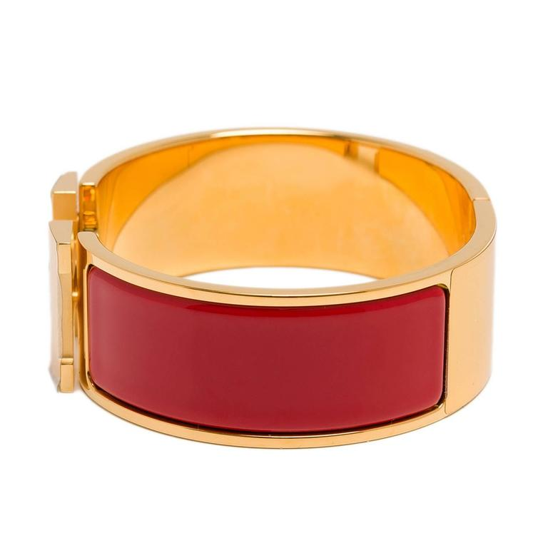 hermes bright clic clac h wide enamel bracelet pm at 1stdibs