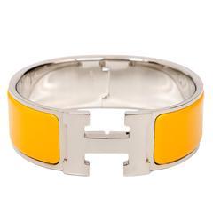 Hermes Mimosa Clic Clac H Wide Enamel Bracelet PM