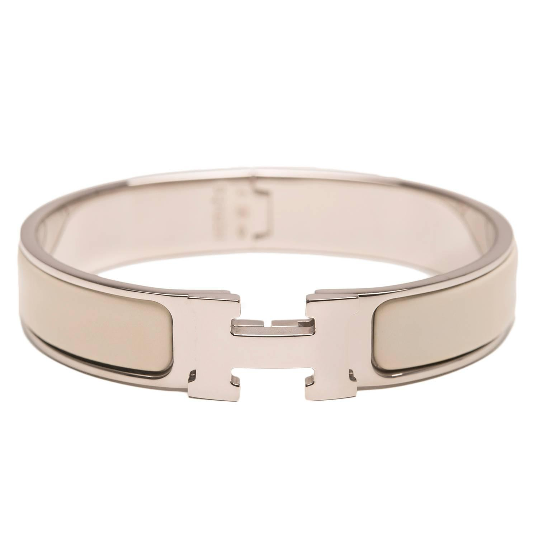hermes craie clic clac h narrow enamel bracelet pm at 1stdibs