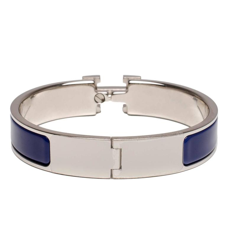 Hermes blue white enamel h clic clac h narrow enamel for Housse clic clac new york