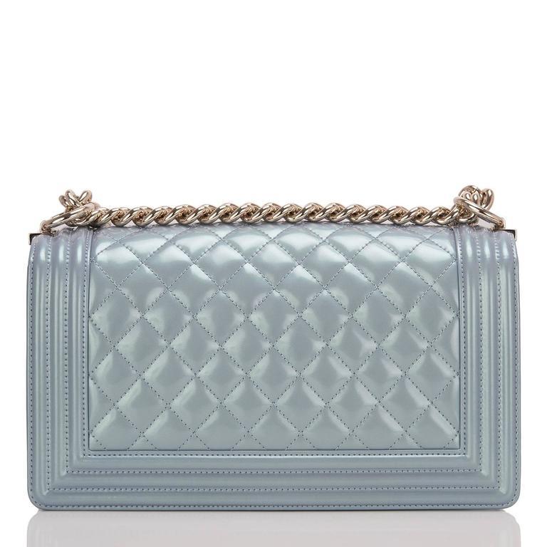 Gray Chanel Light Blue Iridescent Calfskin Medium Boy Bag For Sale