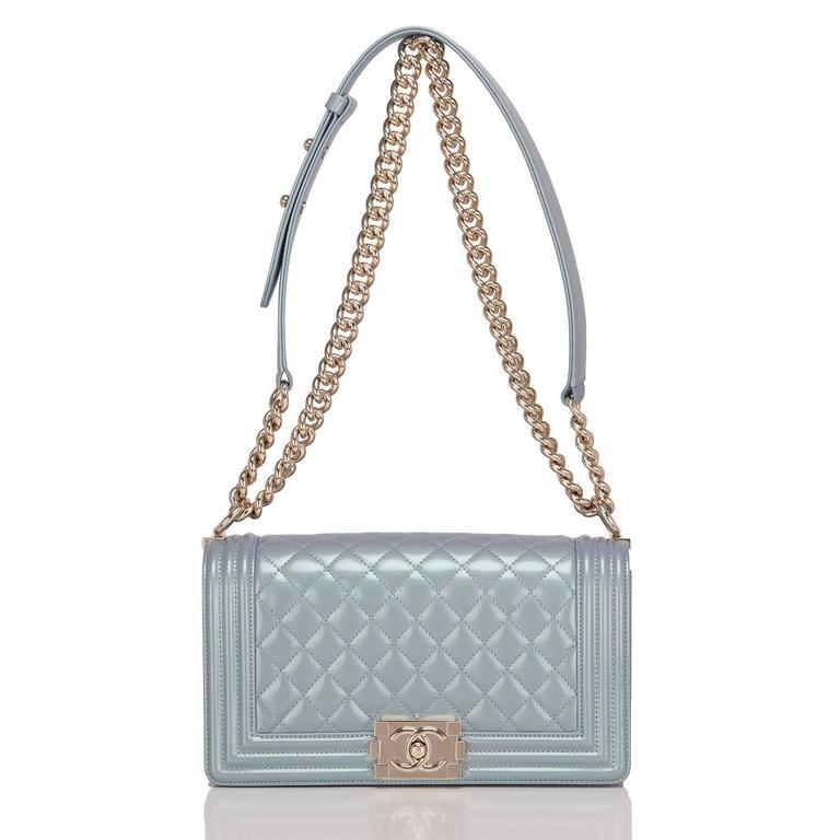 Women's Chanel Light Blue Iridescent Calfskin Medium Boy Bag For Sale