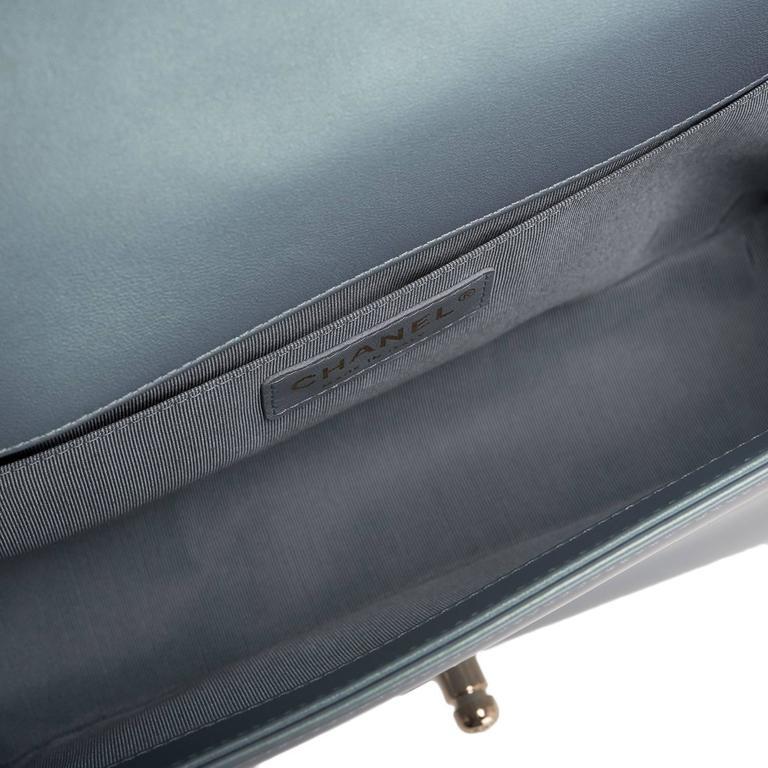 Chanel Light Blue Iridescent Calfskin Medium Boy Bag For Sale 1