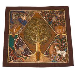 """Hermes """"Axis Mundi"""" Silk Twill Scarf 90cm"""