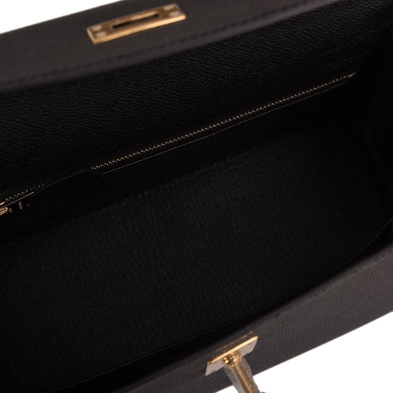 Hermes Black Epsom Sellier Kelly 25cm Gold Hardware For Sale 2