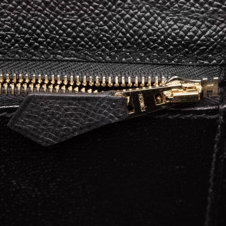 Hermes Black Epsom Sellier Kelly 25cm Gold Hardware For Sale 3