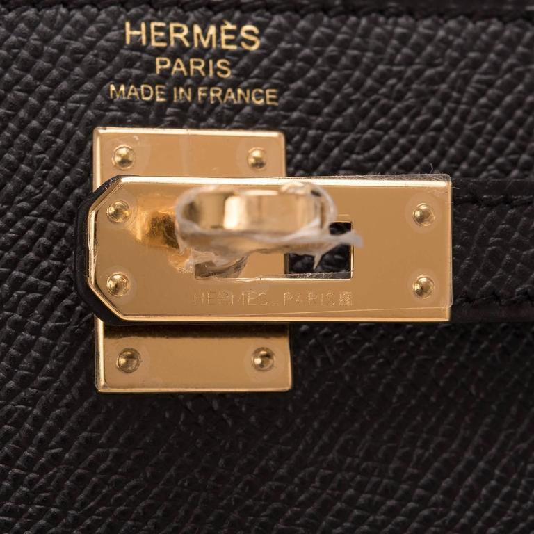 Hermes Black Epsom Sellier Kelly 25cm Gold Hardware For Sale 1