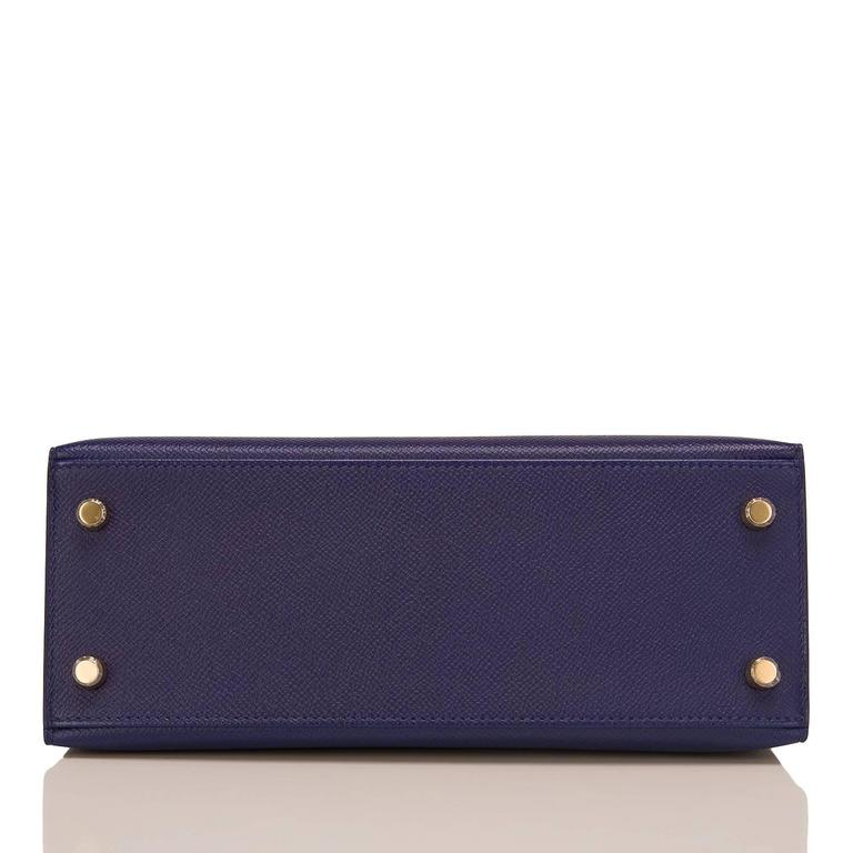 Hermes Blue Sapphire Epsom Sellier Kelly 25cm Gold Hardware In New never worn Condition For Sale In New York, NY
