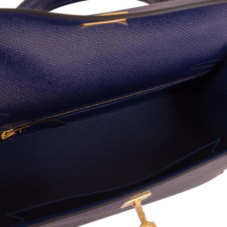 Hermes Blue Sapphire Epsom Sellier Kelly 25cm Gold Hardware For Sale 1