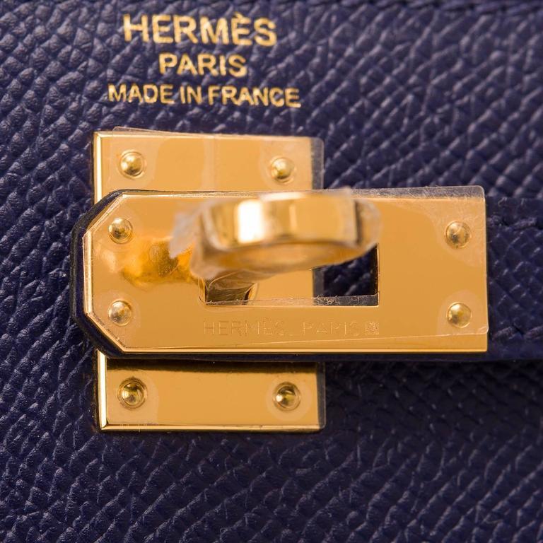 Women's Hermes Blue Sapphire Epsom Sellier Kelly 25cm Gold Hardware For Sale