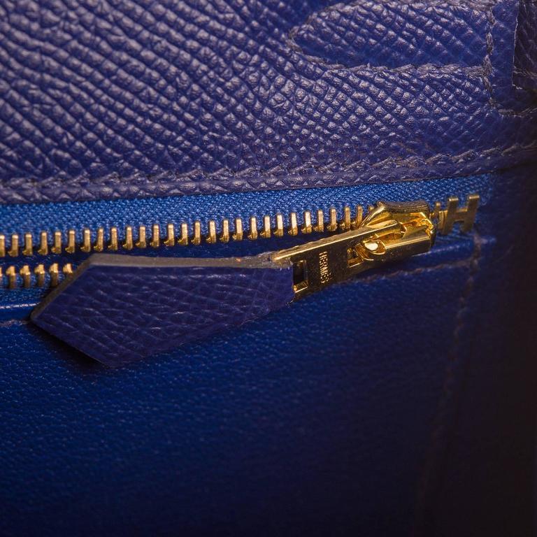 Hermes Blue Sapphire Epsom Sellier Kelly 25cm Gold Hardware For Sale 2