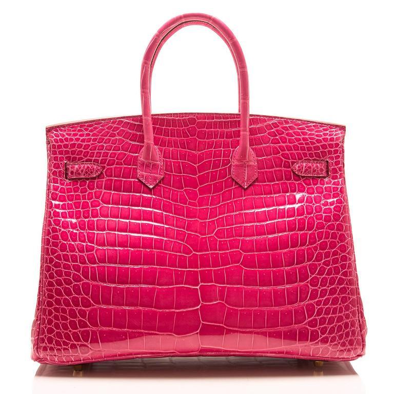 Red Hermes Rose Tyrien Shiny Porosus Crocodile Birkin 35cm Gold Hardware For Sale