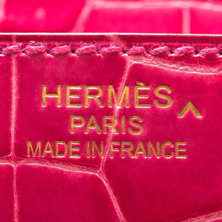 Hermes Rose Tyrien Shiny Porosus Crocodile Birkin 35cm Gold Hardware For Sale 1