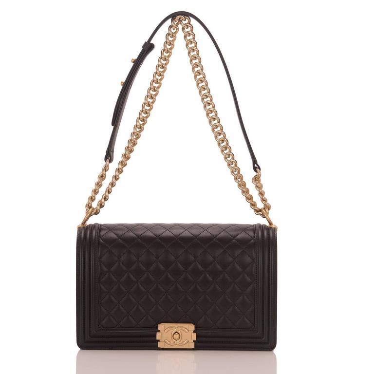 Chanel Black Lambskin New Medium Boy Bag For Sale 1