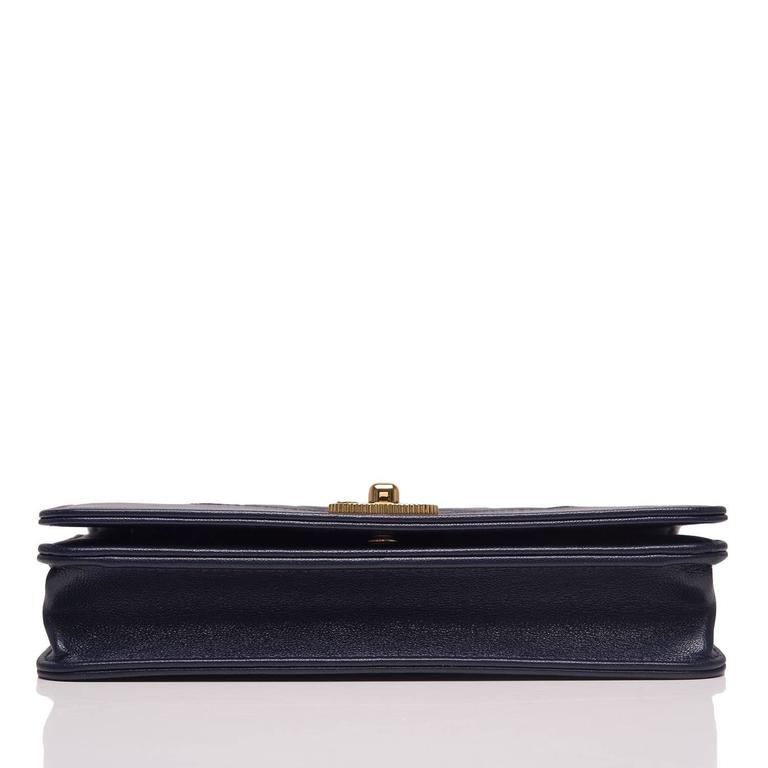 Chanel Navy Leather Mademoselle Vintage Style Wallet On Chain (WOC) In New never worn Condition For Sale In New York, NY