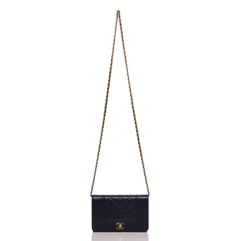 Women's Chanel Navy Leather Mademoselle Vintage Style Wallet On Chain (WOC) For Sale