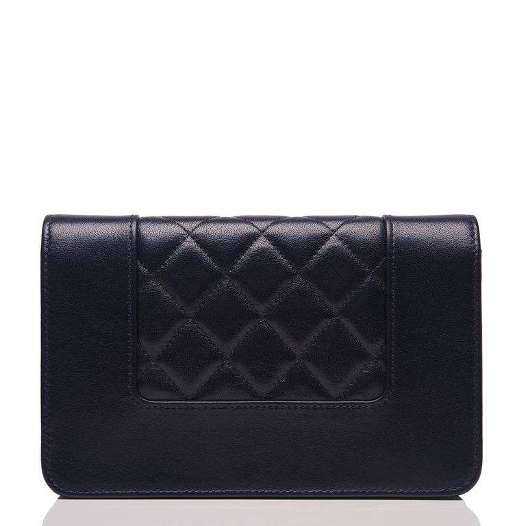 Black Chanel Navy Leather Mademoselle Vintage Style Wallet On Chain (WOC) For Sale