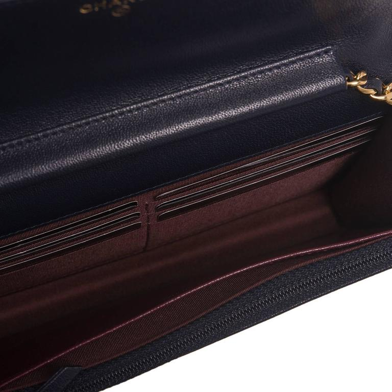 Chanel Navy Leather Mademoselle Vintage Style Wallet On Chain (WOC) For Sale 1